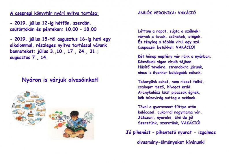 A csepregi könyvtár nyári nyitva tartása: