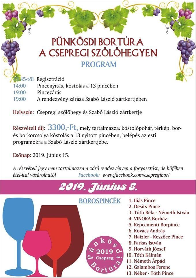 Pünkösdi bortúra Csepregen 2019