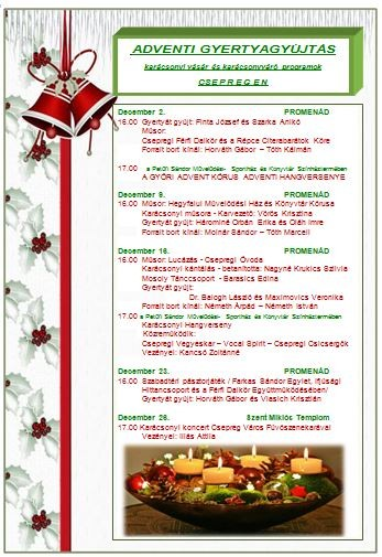 Adventi gyertyagyújtás - karácsonyi vásár és karácsonyváró programok 2018